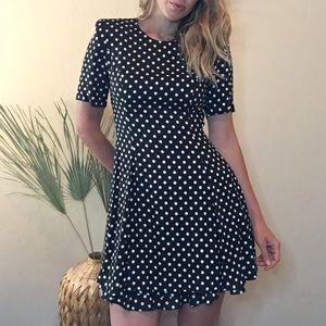 Vintage talon zipper polka dot ruffle mini dress